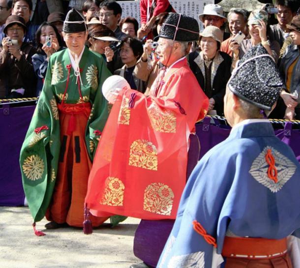 Modern Kemari festival at Tanzan Shrine, Nara city, Nara Prefecture, Japan