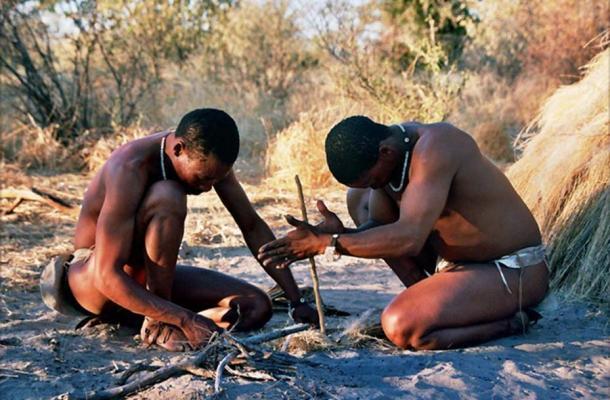 Modern Khao-San speaking hunter-gatherers starting a fire