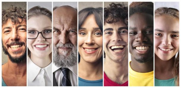 Modern day humans smiling, from different origins (olly / Adobe Stock)