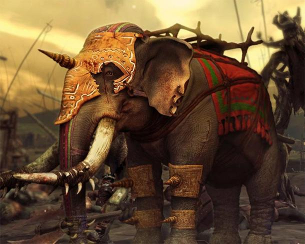 Modern representation of an elephant from ancient Indian warfare. (CC BY SA)
