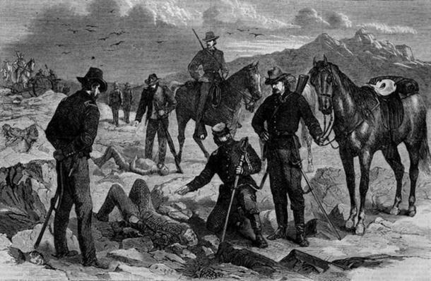 """The Modoc War -- Soldiers Recovering the Bodies of the Slain, a wood engraving published in Harper's Weekly, May 3, 1873."""