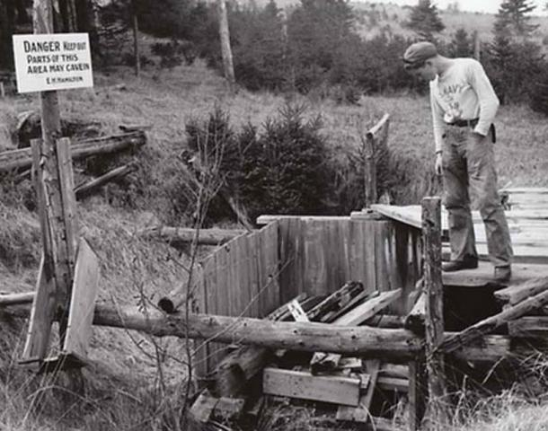 The 'Money Pit' on Oak Island, Nova Scotia, Canada in 1947.