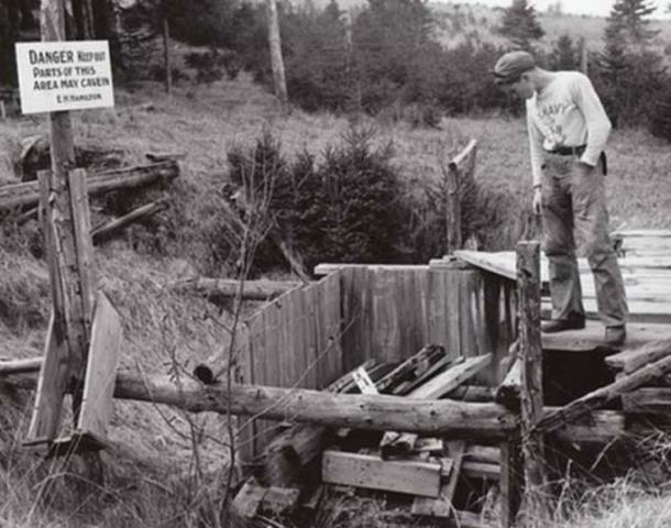 The 'Money Pit' on Oak Island in 1947.