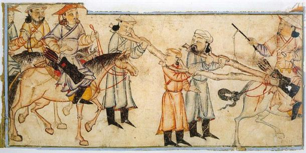 Mongol riders with prisoners. Illustration of Rashid-ad-Din's Gami' at-tawarih. (Public Domain)
