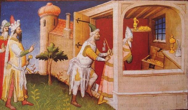 The Mongol ruler Hulagu in Baghdad interns the Caliph of Baghdad among his treasures.