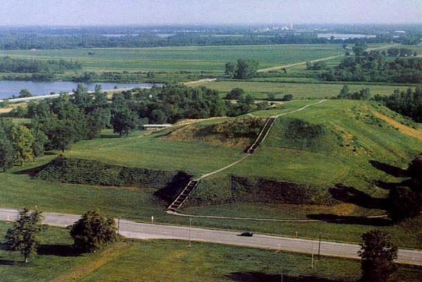 Monk's Mound, Cahokia. The largest prehistoric urban center in what is now the US