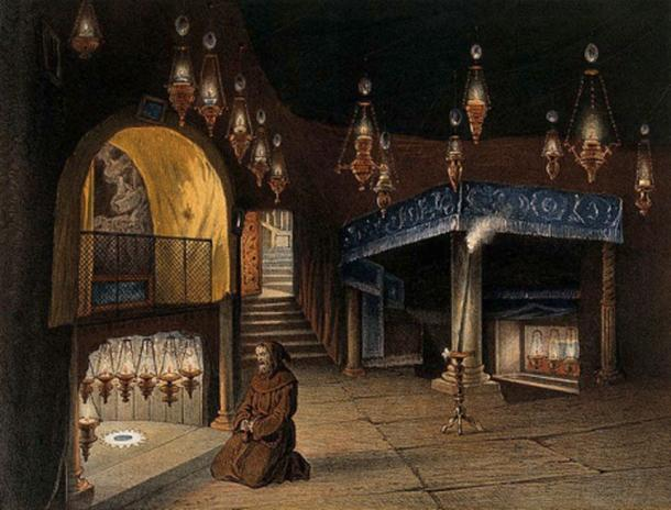 Monk praying in the chapel of the Nativity, Jerusalem. (Wellcome Images/CC BY 4.0)