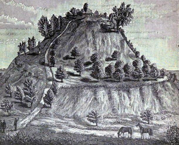 Monks Mound, Cahokia site, 1887 illustration.