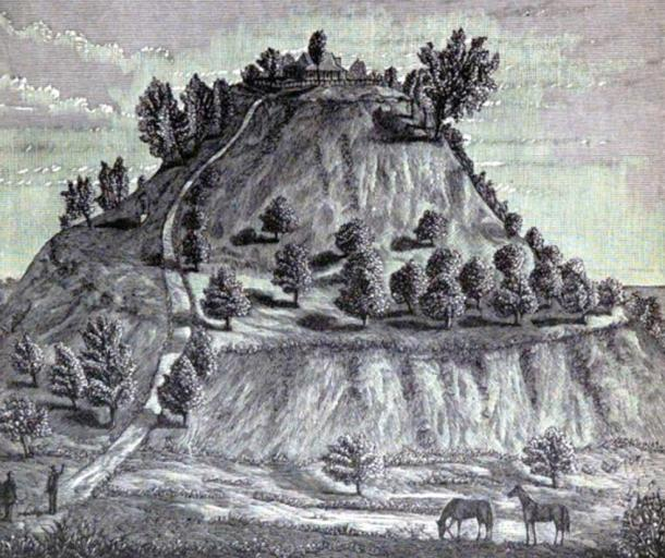 An 1887 drawing of the Monks Mound at Cahokia, by William McAdams