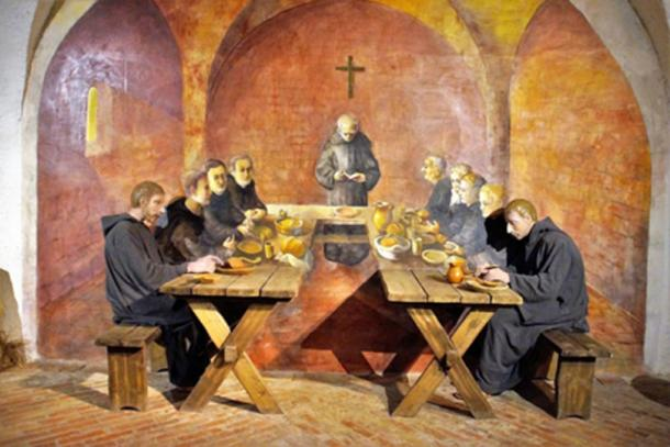 Monks eating in a monastery. (CC0)
