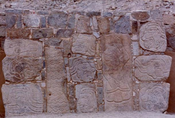 Monoliths at Cerro Sechin depicting warriors and prisoners, the latter are dismembered