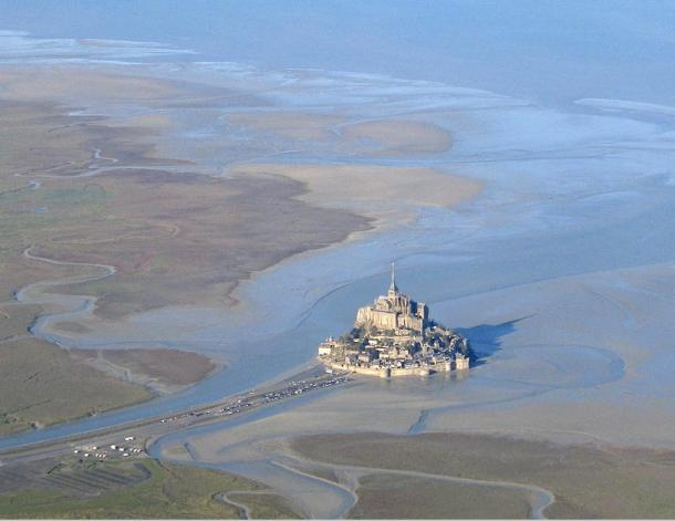 A view of Mont St-Michel at low tide.