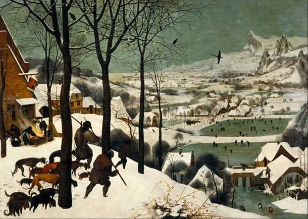 Monthly cycle, scene: The Hunters in the Snow (winter) (1565) by Pieter Brueghel the Elder.