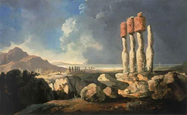 'A View of the Monuments of Easter Island, Rapanui' (1795) by William Hodges. (Public Domain)