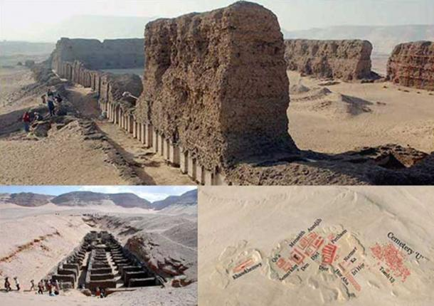 Top: Mortuary buildings at Hierakonpolis. Bottom: The burial site and map of cemetery. Courtesy Google Earth and