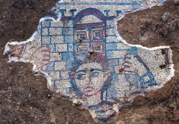 Mosaic depicting Samson carrying the gate of Gaza, Huqoq, Galilee region, Israel