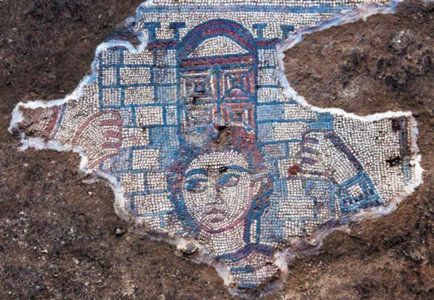 Mosaic depicting Samson carrying the gate of Gaza, Huqoq, Galilee region, Israel