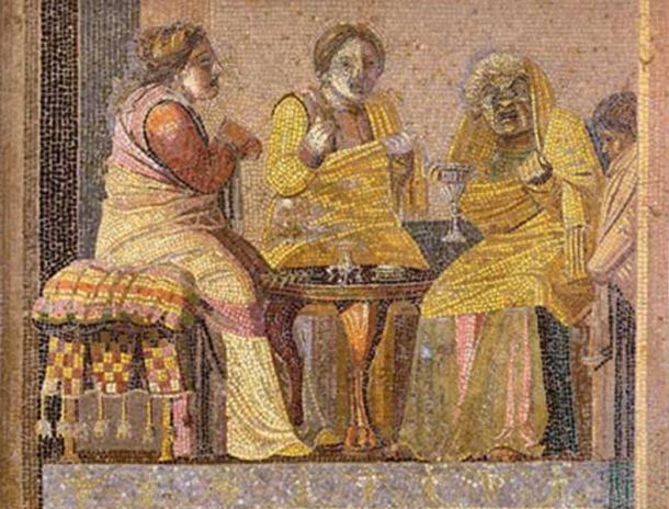 "Mosaic depicting masked actors in a play: two women consult a ""witch"". Roman mosaic from the Villa del Cicerone in Pompeii, now in the Museo Archeologico Nazionale (Naples)"