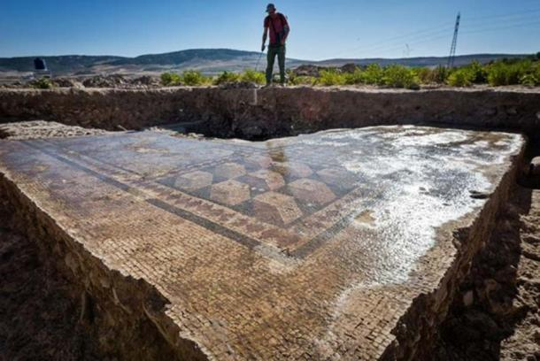 Mosaic floor of a Roman thermal bath uncovered at Doliche.