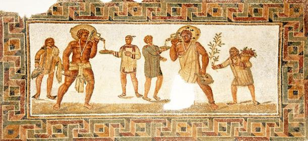 Mosaic floor with slaves serving at a banquet, found in Dougga, 3rd century AD. (CC BY-SA 2.0)