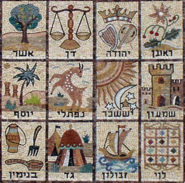 Mosaic of the 12 Tribes of Israel. From Givat Mordechai Etz Yosef synagogue facade, Ha Rav Gold street, in Jerusalem. The tribe of Dan is represented in the top right