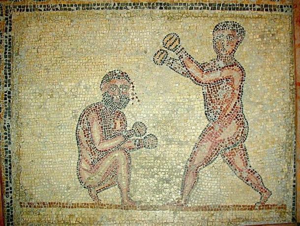 Mosaic of two boxers, (373 AD). Thuburbo Maius, Tunisia