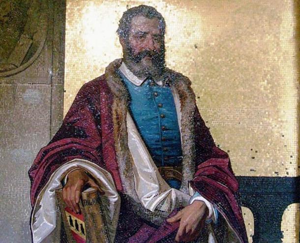 Mosaic representing Marco Polo at Villa Hanbury, Ventimiglia, Italy.