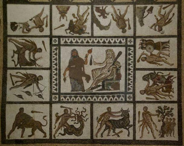 Mosaic with the Labors of Hercules, 3rd century AD, found in Liria (Valencia), National Archaeological Museum of Spain, Madrid