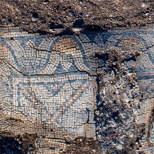 Mosaic floor of 1,300-year-old church in the village of Kfar Kama, near the Mount of Transfiguration. (Alex Wiegmann, Israel Antiquities Authority)