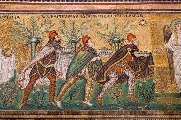 Mosaic of the Three Magi (young, middle aged & elderly) in Sant Apollinare Nuovo in Ravenna. (vvoe / Adobe stock)