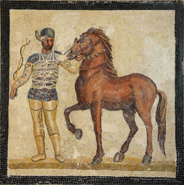 Mosaic depicting a charioteer and a horse from the Veneta factio (Blue) from 3rd century AD in Palazzo Massimo all Terme, Rome. (Carole Raddato / CC BY-SA 2.0)