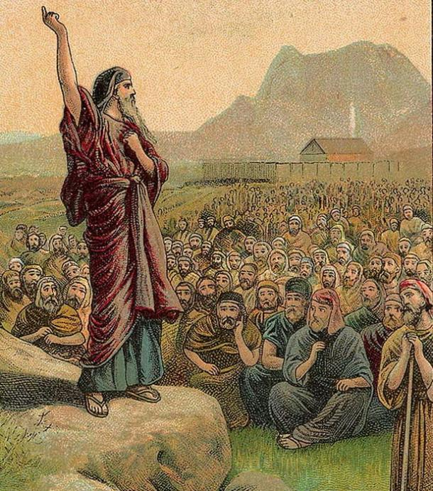 Moses Pleading with Israel, as in Deuteronomy 6:1-15.