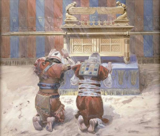 Moses and Joshua in the Tabernacle, bowing before the Ark, (1896-1902) By James Tissot.