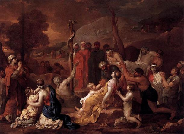 Moses and the Brazen Serpent, Sebastien Bourdon, 1653-4 (Public Domain)