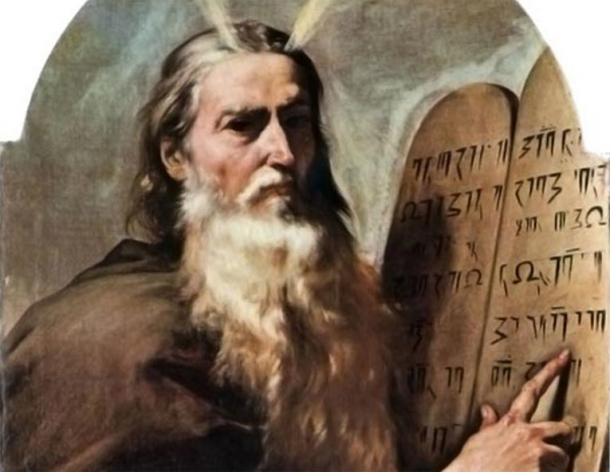 Detail; Moses and the tablets of law.