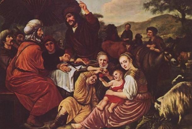 Moses takes his leave of Jethro (Reuel). Reuel is seated on the left, in red.
