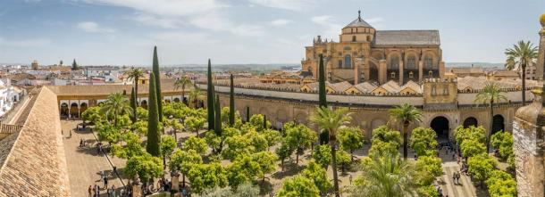 Mosque–Cathedral of Córdoba formerly the Great Mosque of Córdoba. The original mosque (742), since much enlarged, was built on the site of the Visigothic Christian 'Saint Vincent basilica' (600). (Pierre Violet / Adobe stock)