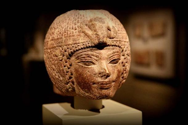 Most probably produced in the last decade of his reign following his first Heb Sed or jubilee, this brown quartzite head shows Amenhotep III wearing the round wig. The king is presented with youthful features. Cleveland Museum of Art. Cleveland, Ohio.