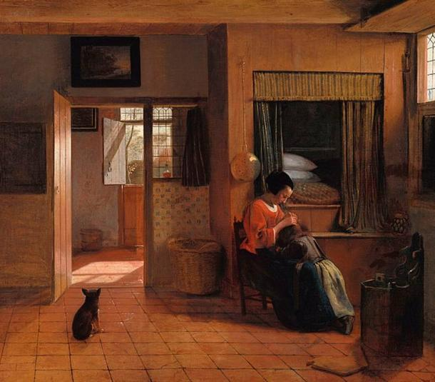 'A Mother Delousing her Child's Hair, known as 'A Mother's Duty'' (1658-1660) by Pieter de Hooch