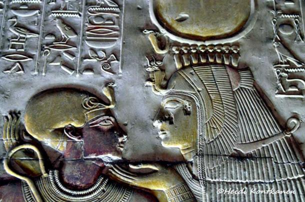 Mother Love: Detail from a relief shows Pharaoh Seti I as a child sitting on the lap of goddess Isis. Her right arm is resting on his back while she gently caresses his face with her left hand. This scene can be found on the western wall of the Second Hypostyle Hall. Temple of Seti I, Abydos.