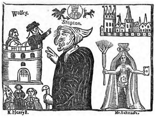 Image of Mother Shipton and Cardinal Wolsey from 'Mother Shipton investigated: the result of critical examination in the British Museum Library of the literature relating to the Yorkshire sibyl.' (1881)