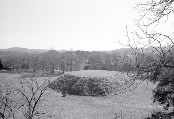 This is Mound A or the Great Temple Mound at Etowah Mounds near Cartersville Georgia. It was built around 1250 AD. Many of these mound centers dotted the eastern landscape before Europeans arrive