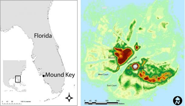 Left: Mound Key was likely the seat of Calusa power for 500 years. By the 16th century, the Calusa kingdom stretched from the Florida Keys to the southern edge of Tampa Bay. Right: A remote sensing map reveals some of Mound Key's standout features, including two large shell mounds, the grand canal and two massive watercourts flanking the island's southwest shoreline. (Victor Thompson / PNAS)