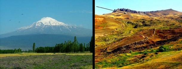 "Above left, we see Mount Ararat in modern-day Turkey, and get an idea how impractical it would have been to try land the ark of Noah on it. Above right, we see the mountain seventeen miles south of Mount Ararat where the ark actually first came to rest (arrow), and the impression it left when it slid down the mountain about 100 years later. At the top of the mountain, we see the escarpment cliffs which the ""Epic of Gilgamesh"" refers to as the ""wall of heaven"" (Image: David Allen Deal, Author supplied)"