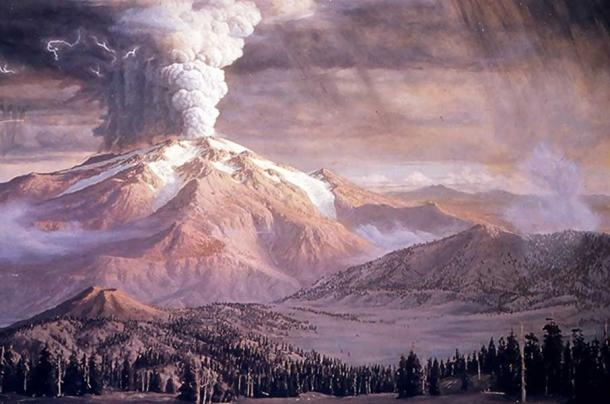An image of Mount Mazama before it erupted and collapsed forming Crater Lake.