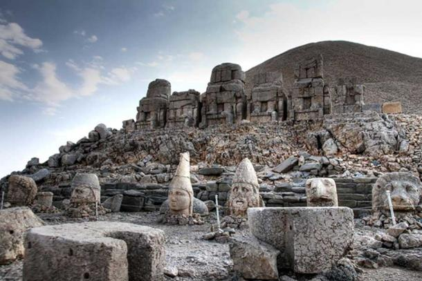 The ruins of Mount Nemrut, East terrace, Gods of Commagene.