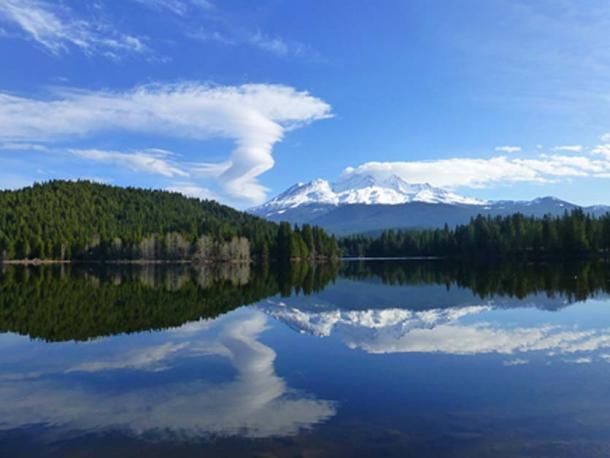 Mount Shasta Reflected in the Lake, photograph copyright Dustin Naef.