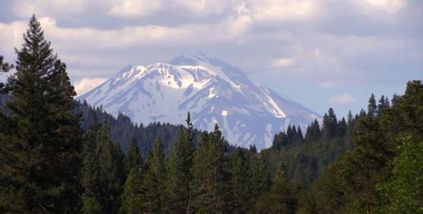 """Mount Shasta as viewed from the south near Dunsmuir and Castle Crags."""