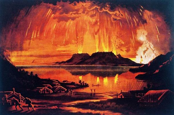 Mount Tarawera In Eruption 1886 by Charles Blomfield