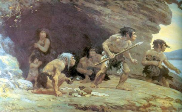 Le Moustier Neanderthals by Charles R. Knight. (Public domain)